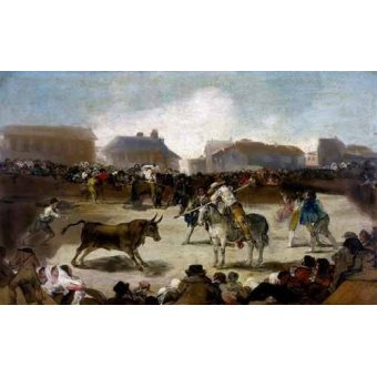 Tableaux cartes du monde, dessins - Tableau -Toros en un pueblo- - Goya y Lucientes, Francisco de
