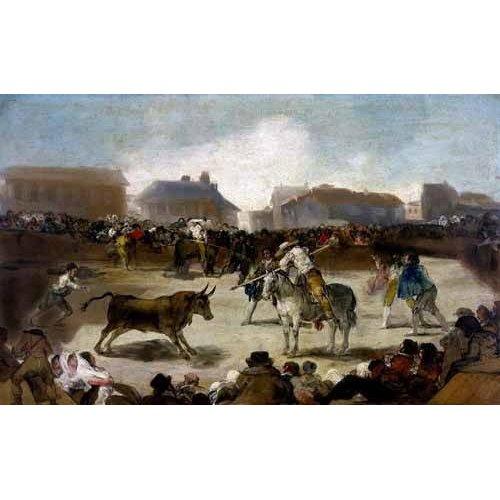 Tableau -Toros en un pueblo-