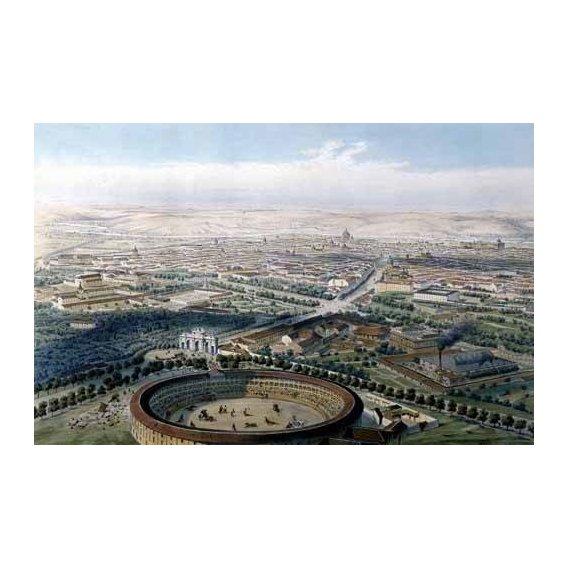 imagens de mapas, gravuras e aquarelas - Quadro -Madrid vista aérea con la plaza de toros, 1854-