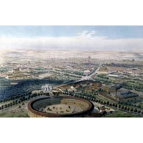 Tableau -Madrid vista aérea con la plaza de toros, 1854-