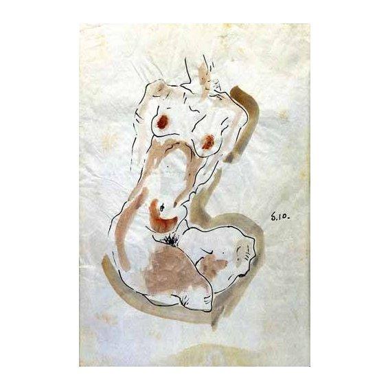 imagens de mapas, gravuras e aquarelas - Quadro -Desnudo Femenino -