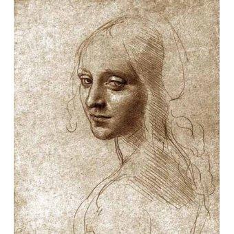 Tableaux cartes du monde, dessins - Tableau -Angel face of the Virgin of the Rocks- - Vinci, Leonardo da