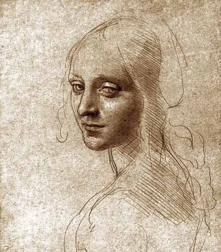 tableaux-cartes-du-monde-dessins - Tableau -Angel face of the Virgin of the Rocks- - Vinci, Leonardo da