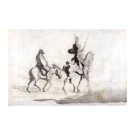 imagens de mapas, gravuras e aquarelas - Quadro -Don Quixote and Sancho Panza, 1850-