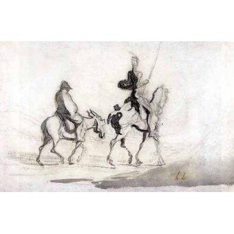 Tableaux cartes du monde, dessins - Tableau -Don Quixote and Sancho Panza, 1850- - Daumier, Honoré