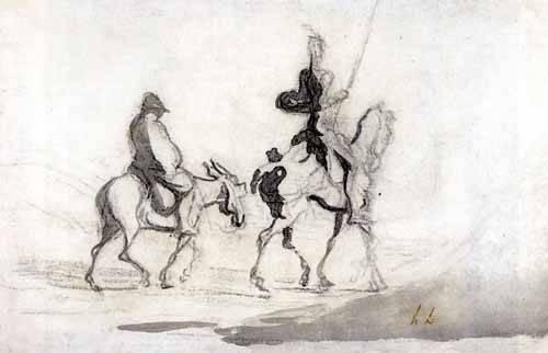 tableaux-cartes-du-monde-dessins - Tableau -Don Quixote and Sancho Panza, 1850- - Daumier, Honoré