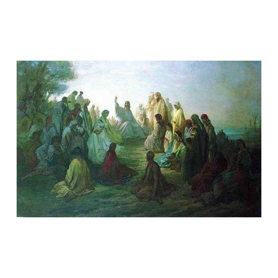 imagens de mapas, gravuras e aquarelas - Quadro -Jesús predicando en la montaña-