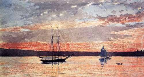 tableaux-cartes-du-monde-dessins - Tableau -Atardecer en Gloucester- - Homer, Winslow