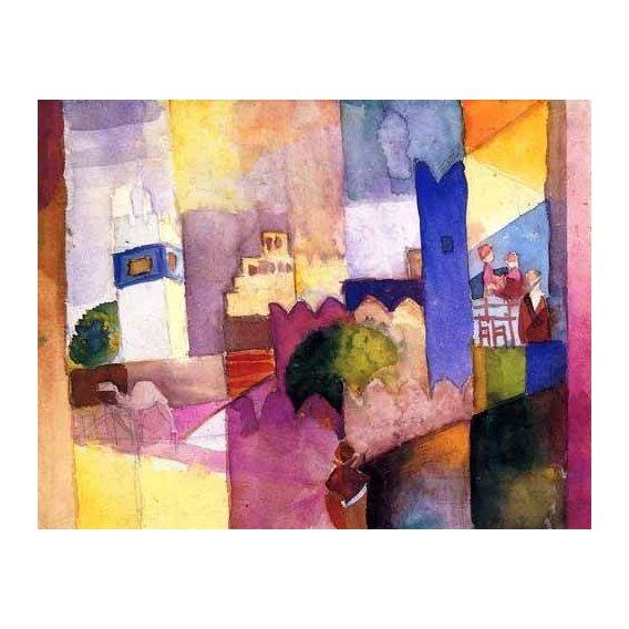 imagens de mapas, gravuras e aquarelas - Quadro -Macke-023-
