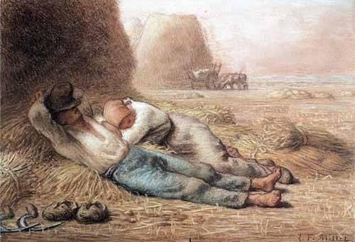tableaux-cartes-du-monde-dessins - Tableau -La méridienne, 1866 - - Millet, Jean François