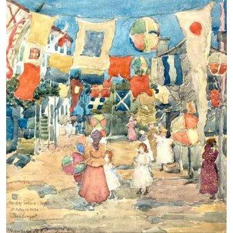 Tableaux cartes du monde, dessins - Tableau -Fiesta Venice, S. Pietro in Volta- - Prendergast, Maurice