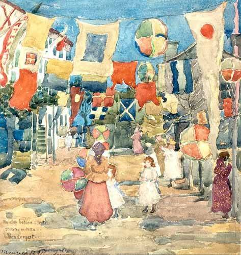 tableaux-cartes-du-monde-dessins - Tableau -Fiesta Venice, S. Pietro in Volta- - Prendergast, Maurice