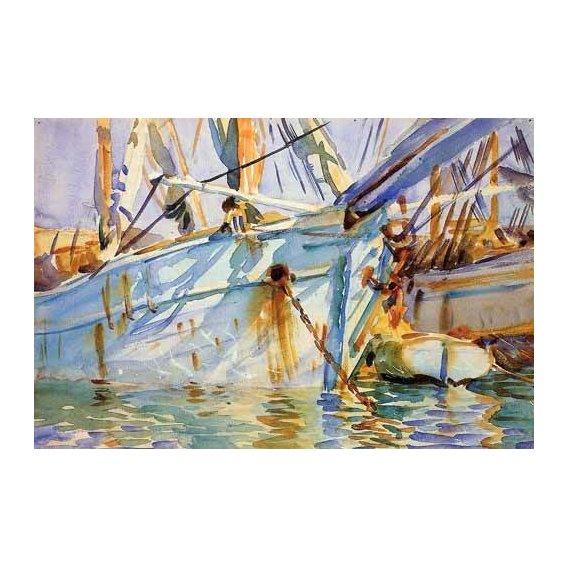 imagens de mapas, gravuras e aquarelas - Quadro -En un puerto Levantino-