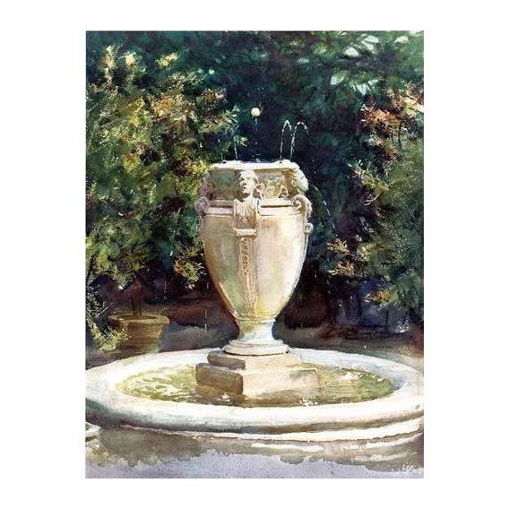 imagens de mapas, gravuras e aquarelas - Quadro -Vase Fountain Pocantico-