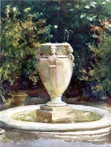 tableaux-cartes-du-monde-dessins - Tableau -Vase Fountain Pocantico- - Sargent, John Singer