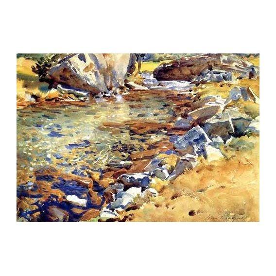 imagens de mapas, gravuras e aquarelas - Quadro -Brook among Rocks-