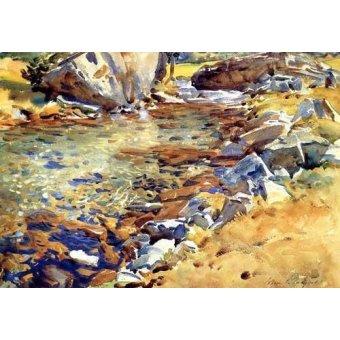 Tableaux cartes du monde, dessins - Tableau -Brook among Rocks- - Sargent, John Singer