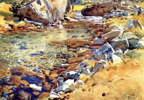 tableaux-cartes-du-monde-dessins - Tableau -Brook among Rocks- - Sargent, John Singer