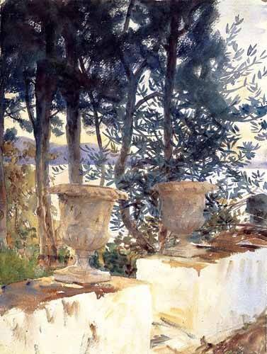 tableaux-cartes-du-monde-dessins - Tableau -Una terraza en Corfu- - Sargent, John Singer
