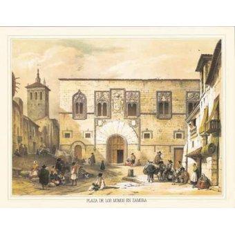 Tableaux cartes du monde, dessins - Tableau -Plaza de los Momos en Zamora- - Villaamil, Jenaro Perez de