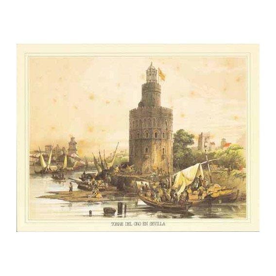 imagens de mapas, gravuras e aquarelas - Quadro -Torre del Oro en Sevilla-