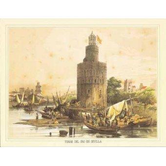 Tableaux cartes du monde, dessins - Tableau -Torre del Oro en Sevilla- - Villaamil, Jenaro Perez de