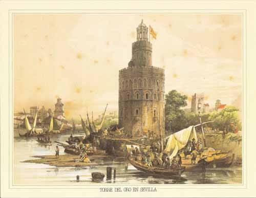 tableaux-cartes-du-monde-dessins - Tableau -Torre del Oro en Sevilla- - Villaamil, Jenaro Perez de