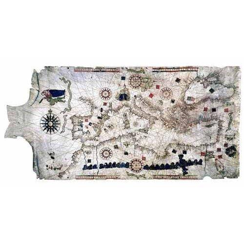 Tableau -Carte de la Méditerranée sur peau de bélier-