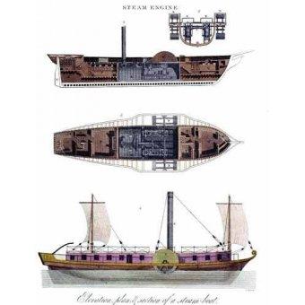Tableaux cartes du monde, dessins - Tableau -Elevación, plano y sección de un barco a vapor - - _Anónimo Americano