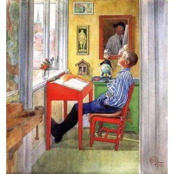 Tableaux pour enfants - Tableau -Esbjorn haciendo sus deberes- - Larsson, Carl