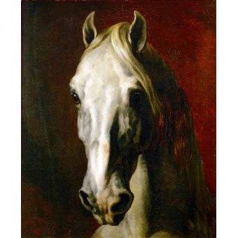 Tableaux de faune - Tableau -Tête d'un cheval blanc- - Gericault, Theodore