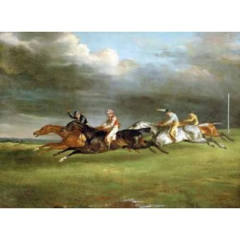Tableaux de faune - Tableau -Carrera de caballos en Epsom- - Gericault, Theodore