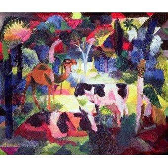 Tableaux de faune - Tableau -Paisaje con vacas y camello- - Macke, August