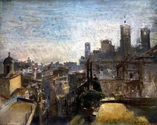 tableaux-de-paysages - Tableau -Barcelona desde una azotea de la riera de Sant Joan- - Marti y Alsina, Ramón