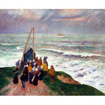 Tableaux de paysages marins - Tableau -Esperando a los pescadores en Bretaña- - Moret, Henri