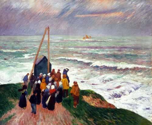 tableaux-de-paysages-marins - Tableau -Esperando a los pescadores en Bretaña- - Moret, Henri