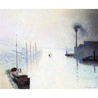 Tableaux de paysages marins - Tableau -Île Lacroix Rouen avec brouillard - - Pissarro, Camille