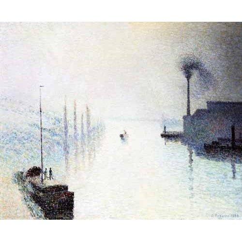Tableau -Île Lacroix Rouen avec brouillard -