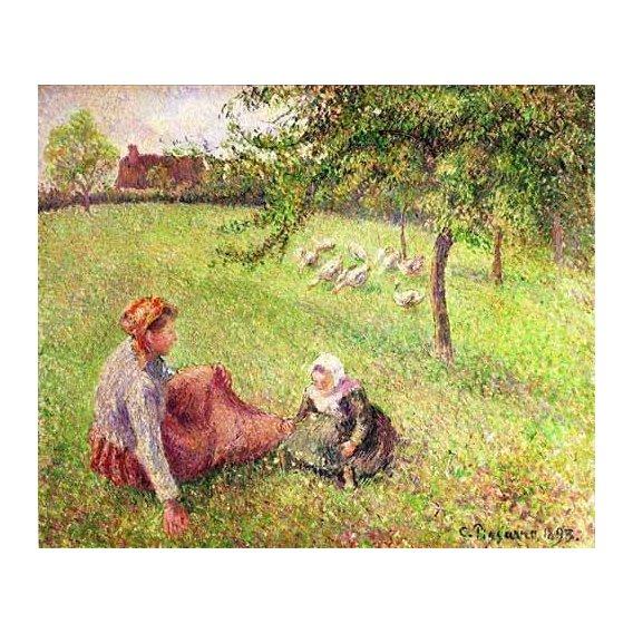 pinturas de paisagens - Quadro -La pastora de gansos-