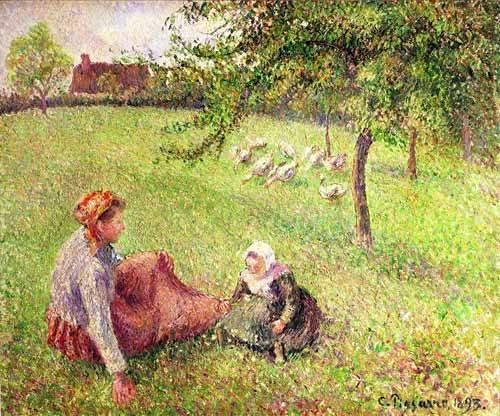tableaux-de-paysages - Tableau -La bergère des oies- - Pissarro, Camille