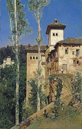 tableaux-de-paysages - Tableau -La Torre de las Damas en la Alhambra- - Rico y Ortega, Martin