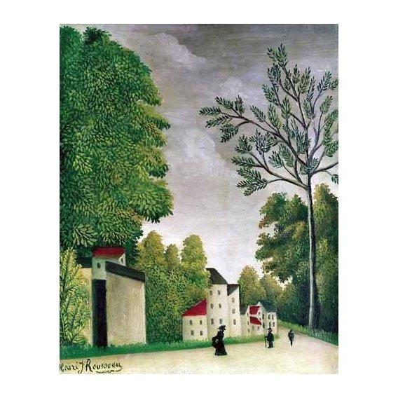 pinturas de paisagens - Quadro -Escena en una calle de pueblo-