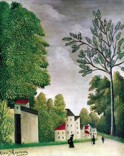 tableaux-de-paysages - Tableau -Escena en una calle de pueblo- - Rousseau, Henri