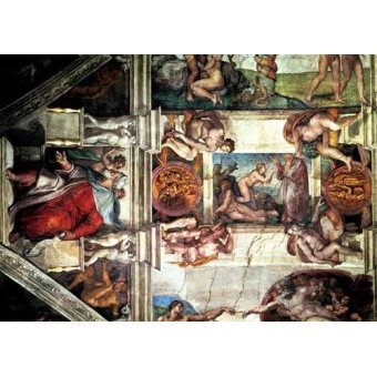 Tableaux religieuses - Tableau -Bóveda: Creación de Eva, le Profeta Ezequiel- - Buonarroti, Miguel Angel