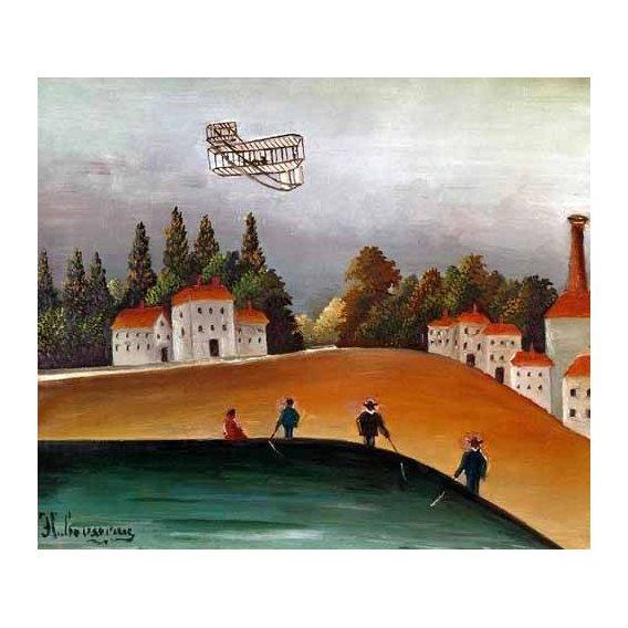 pinturas de paisagens - Quadro -Los pescadores de caña y el avión-
