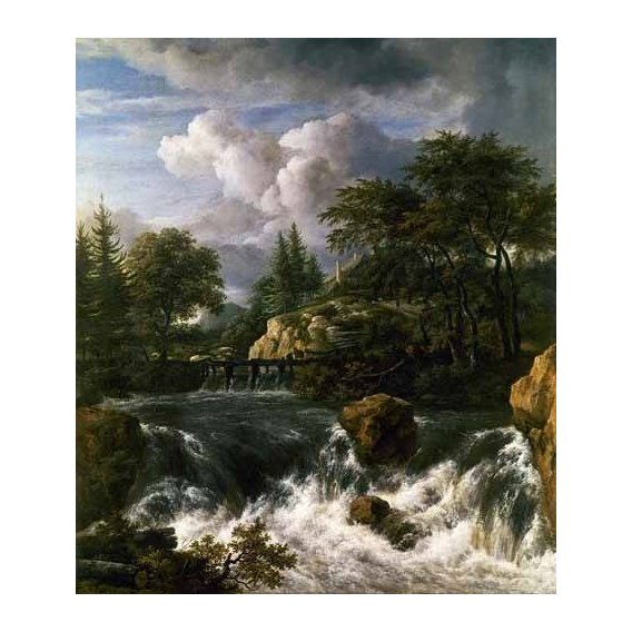 pinturas de paisagens - Quadro -Paisaje con una cascada-