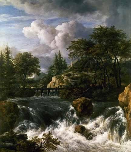tableaux-de-paysages - Tableau -Paisaje con una cascada- - Ruisdael, Jacob van