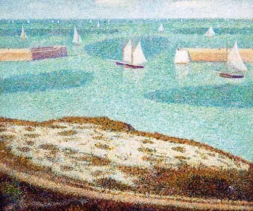 tableaux-de-paysages-marins - Tableau -Entrada al puerto- - Seurat, Georges