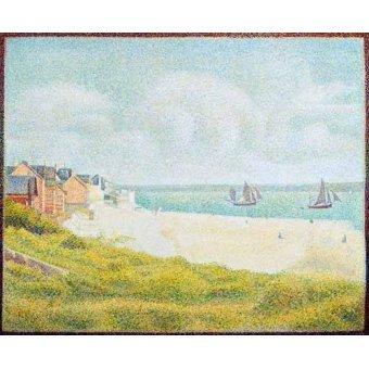 Tableaux de paysages marins - Tableau -Vue du Crotoy, en amont, 1889- - Seurat, Georges