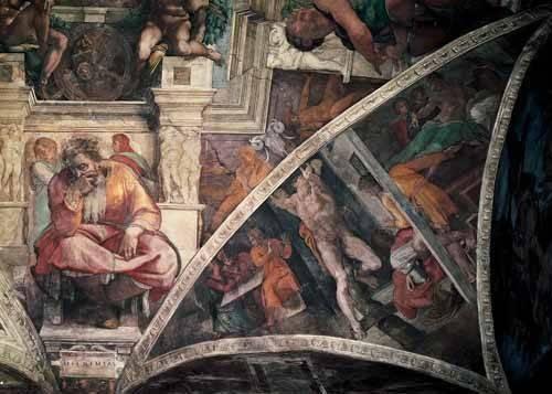 tableaux-religieuses - Tableau -Bóveda: El Castigo de Amán, el Profeta Jeremias- - Buonarroti, Miguel Angel